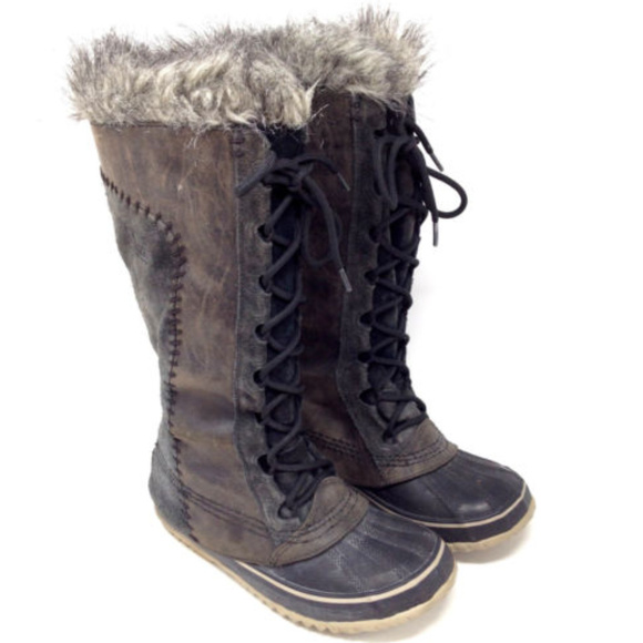 b0542d6e16 Sorel Shoes   Cate The Great Gray Brown Leather Fur Boots   Poshmark
